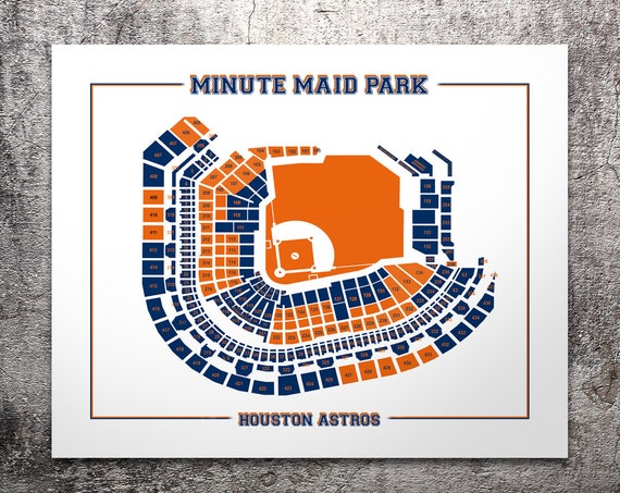 Vintage Print of Minute Maid Park Seating Chart Houston Astros Baseball Blueprint on Photo Paper, Matte Paper or Stretched Canvas