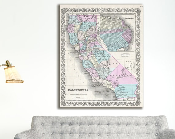 Print of Antique Map of California and San Francisco on Photo Paper Matte Paper or Stretched Canvas
