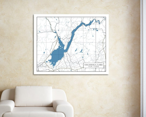 Print of Map of Sacandaga Lake, Michigan. Printed on Canvas, Matter Paper, or Photo Paper.