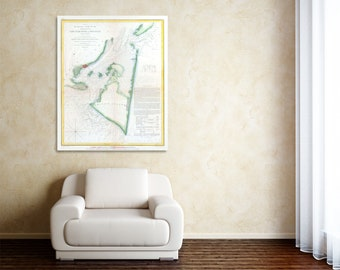 Print of Antique Map of North Carolina Vintage Cape Fear River on Matte Paper, Photo Paper, or Stretched Canvas. Free Shipping!