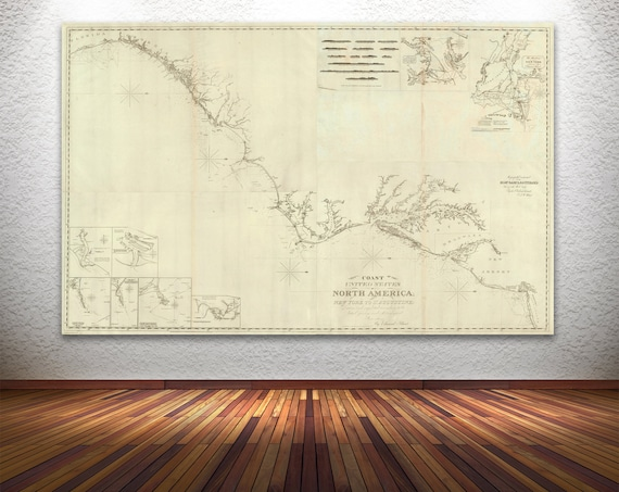 Print of Antique Map of the United States Coast from New York to St. Augustine. Printed on Canvas, Photo Paper or Matte Paper. Ships Free!