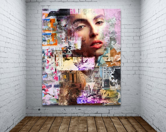 Modern Art Print on Photo Paper, Matte Paper, or Canvas of Female Portrait Collage Fine Art Painting. Free Shipping!