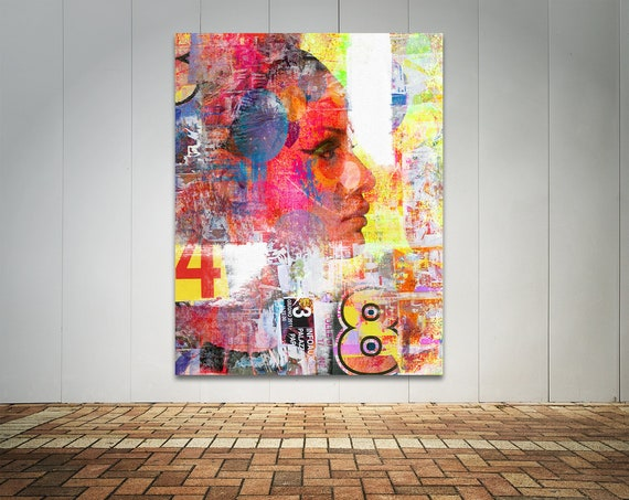 Modern Art Print on Photo Paper, Matte Paper, or Canvas of Female Figure Collage Fine Art Painting. Free Shipping!