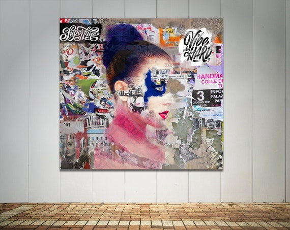 Print of abstract collage art featuring female face and various text printed on canvas, photo paper or matte paper