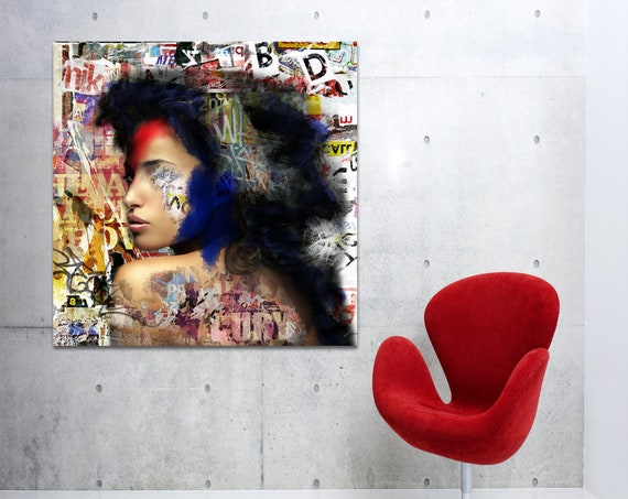 Print of modern abstract collage art featuring female profile with text printed on canvas, photo paper or matte paper