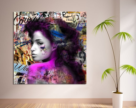 Print of modern abstract collage art with female profile with text printed on canvas, photo paper or matte paper