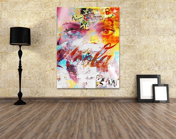 Print of mixed media abstract collage painting with female eyes and texture on canvas photo paper or matte paper, free shipping!