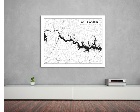 Print of Lake Gaston Map, in South Carolina. Printed on Canvas, Matter Paper, or Photo Paper.