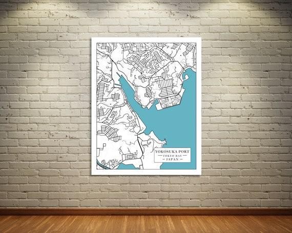 Print of Map of Japan, Yokosuka Port in Tokyo Bay. Printed on Canvas, Matter Paper, or Photo Paper.