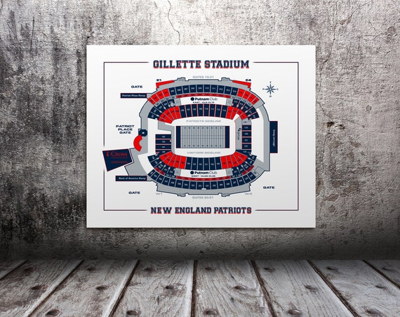 Vintage Print of Gillette Stadium Seating Chart on Photo Paper, Matte Paper, or Stretched Canvas
