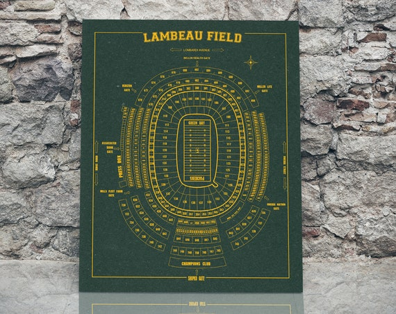 Greenbay Packers Lambeau Field Sign Print Seating Chart on  Paper or Canvas, Gift For Him, Man Cave, wedding gift, groomens