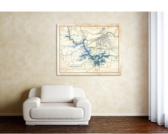 Print of Antique Map of Lake Hamilton, Arkansas. Printed on Canvas, Matter Paper, or Photo Paper.