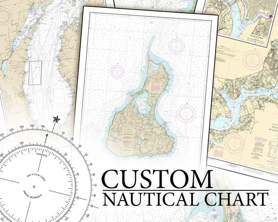 CUSTOM ANY nautical chart or map any area on Photo Matte or Canvas Boat Sail Ship Fishing Lake Diagram Home Wall Desk Decor Free Shipping
