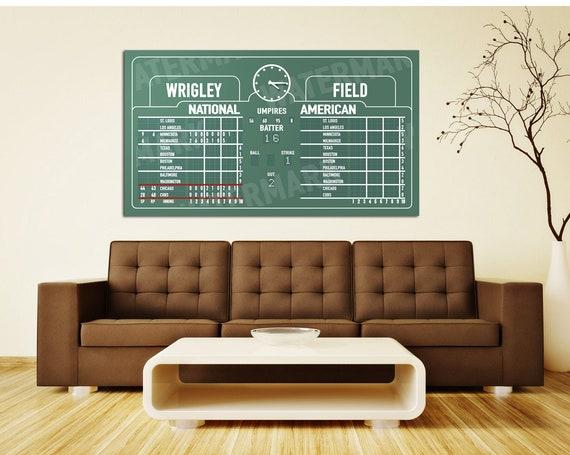 Print of Wrigley Field scoreboard on Photo Paper, Matte Paper, or Canvas.