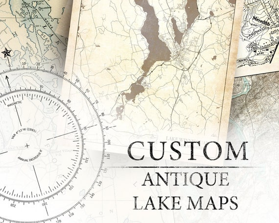 Custom Print Made to Look Antique of Any Lake on Photo Paper, Matte Paper or Canvas with Option to Frame.