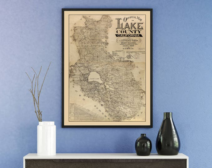 Print of Antique Map of Lake County, California on Photo Paper Matte Paper or Stretched Canvas
