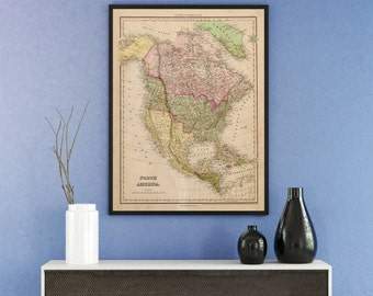 Print of Antique Map of North America on Photo Paper Matte Paper or Stretched Canvas