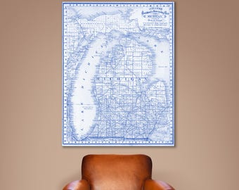 Print of Antique Map of Michigan on Photo Paper Matte Paper or Stretched Canvas