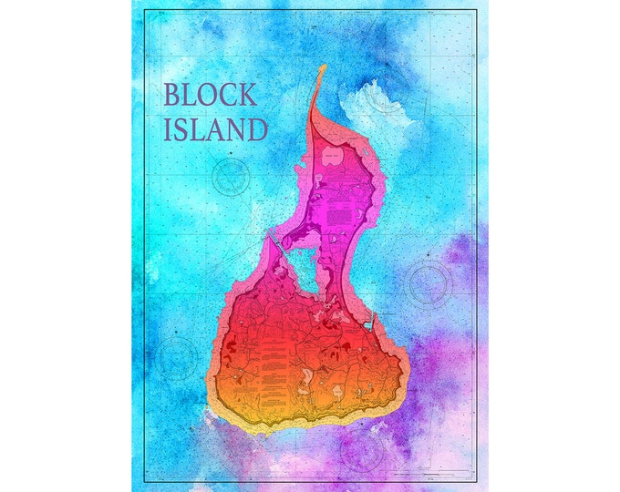 Artistic Print of Block Island Chart on your choice of Photo Paper, Matte Paper or Canvas Giclee