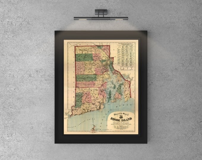 Print of Antique Map of Rhode Island State on Photo Paper, Matte Paper or Canvas