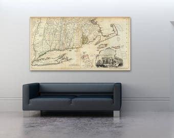 Print of Antique Map of New England on Matte Paper, Photo Paper, or Stretched Canvas. Free Shipping!