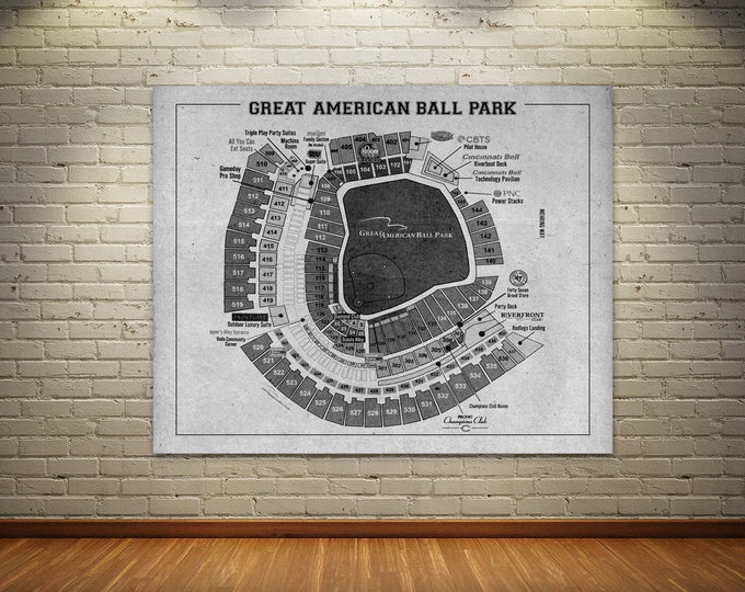 Print of Vintage Great American Ball Park Cincinnati Reds Baseball Seating Chart on Photo Paper, Matte paper or Stretched Canvas