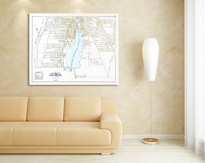 Print of Antique Map of Part of Fall River Massachusetts Plate 1 on Photo Paper, Matte Paper and Stretched Canvas