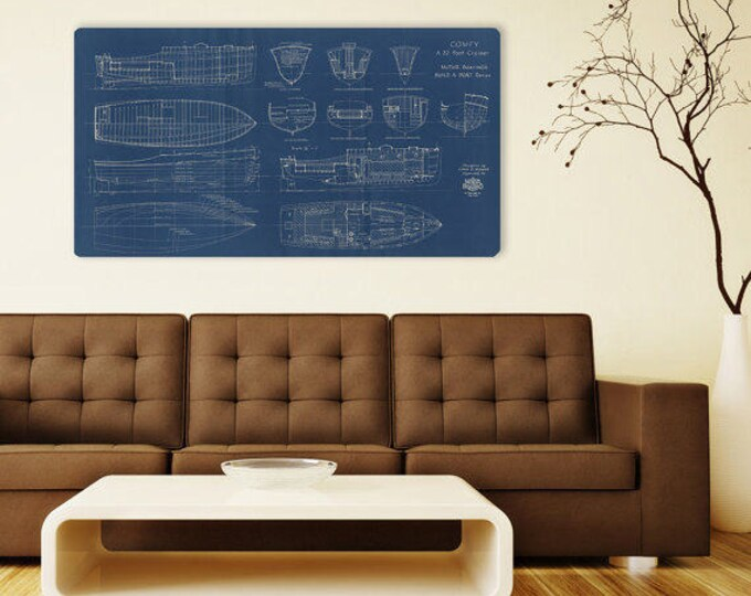 Print of Vintage COMFY Boat Blueprint from Motor Boating's Build a Boat Series on Your Choice of Matte Paper, Photo Paper, or Canvas