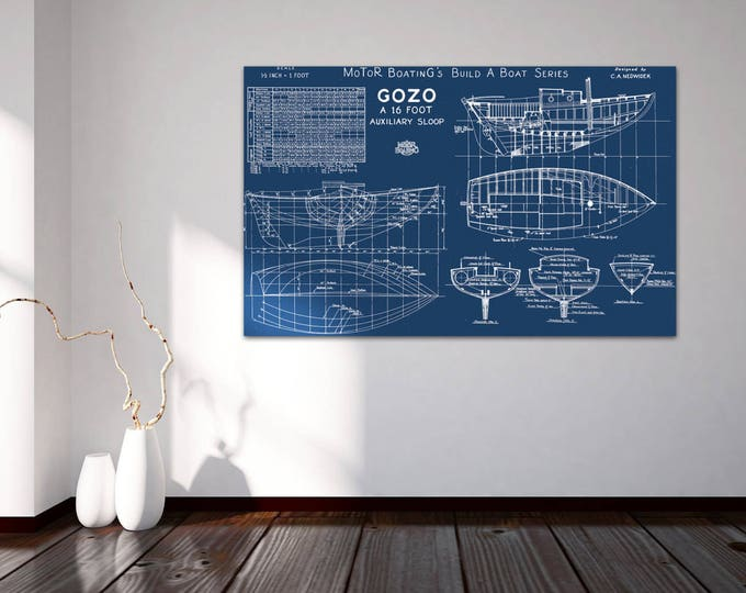 Print of Vintage GOZO Boat Blueprint from Motor Boating's Build a Boat Series on Your Choice of Matte Paper, Photo Paper, or Canvas