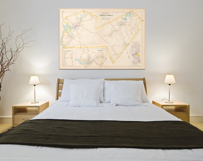 Print of Antique Map of Freetown Massachusetts on Photo Paper, Matte Paper and Stretched Canvas