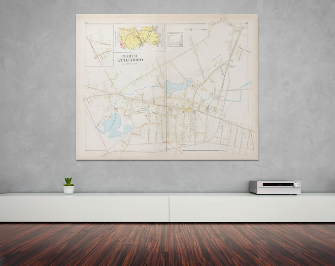 Print of Antique Map of North Attleboro Massachusetts  on Photo Paper, Matte Paper and Stretched Canvas