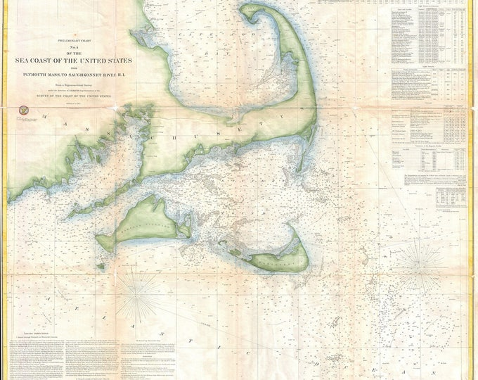 Print of Antique Map of Cape Cod Bay and New England Harbor on Photo Paper, Matte Paper or Stretched Canvas