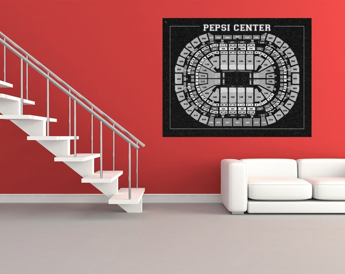 Vintage Print of Pepsi Center Seating Chart on Premium Photo Luster Paper Heavy Matte Paper, or Stretched Canvas. Free Shipping!