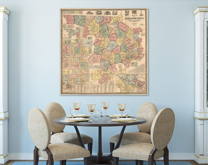 Print of Vintage Map of Middlesex County, Massachusetts on Photo Paper, Matte Paper, or Stretched Canvas