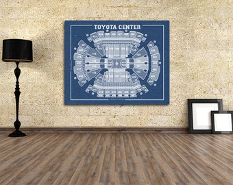 Vintage Print of Toyota Center Seating Chart on Premium Photo Luster Paper Heavy Matte Paper, or Stretched Canvas. Free Shipping!