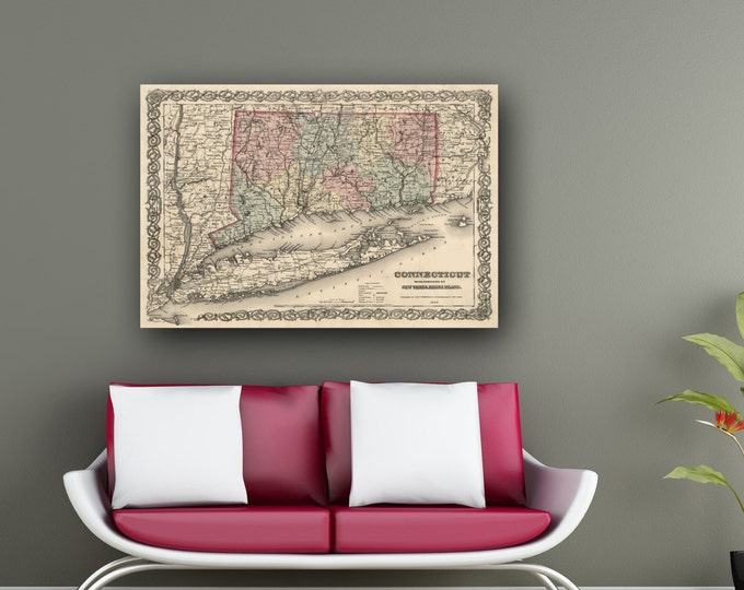 Print of Antique Map of Connecticut and the Vicinity on Photo Paper Matte Paper or Stretched Canvas