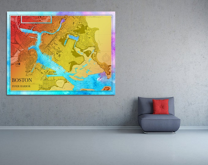 Artistic Print of Boston Inner Harbor Chart on your choice of Photo Paper, Matte Paper or Canvas Giclee