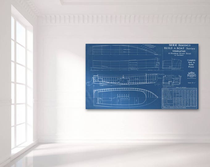 Print of Vintage CHARLATAN Boat Blueprint from Motor Boating's Build a Boat Series on Your Choice of Matte Paper, Photo Paper, or Canvas