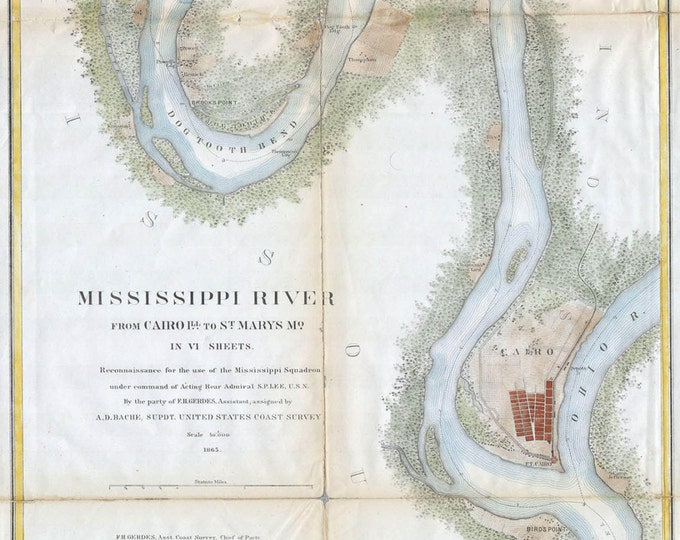 Vintage Print of Mississippi River Map on Your Choice of Matte Paper, Photo Paper or Stretched Canvas