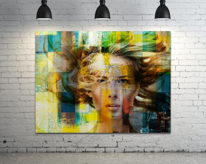 Print of Pop Art Collage Featuring Woman's Face with Texture. Printed on Canvas, Photo Paper, or Matte Paper in Many Sizes.