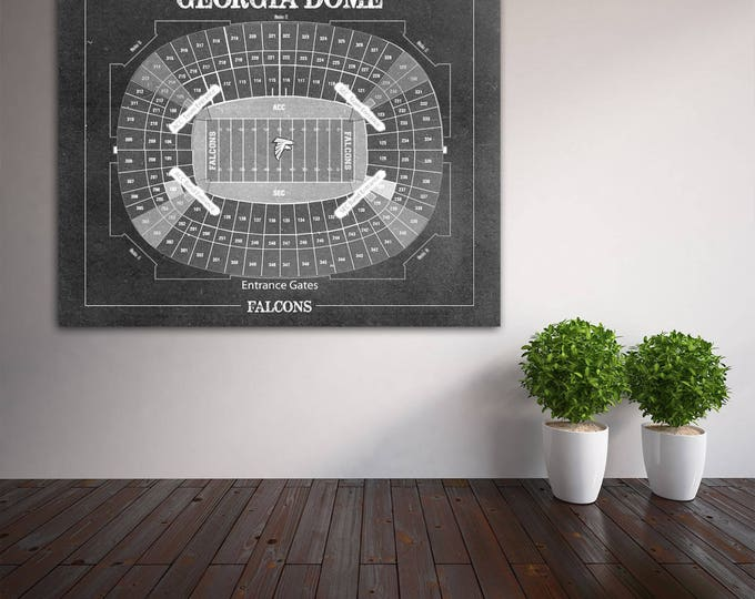 Print of Vintage Georgia Dome Seating Chart Seating Chart on Photo Paper, Matte paper or Canvas