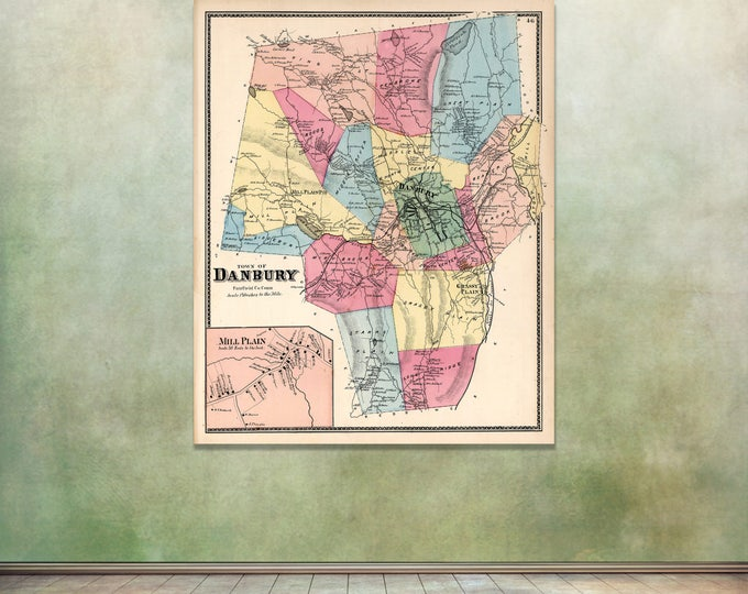 Print of Antique Map of Danbury, Connecticut on Matte Paper, Photo Paper, or Stretched Canvas. Free Shipping!