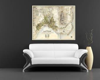 Print of Antique Map of Cape Town on Photo Paper Matte Paper or Stretched Canvas