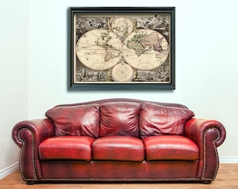 Print of Antique World Map on Photo Paper, Matte Paper, or Stretched Canvas