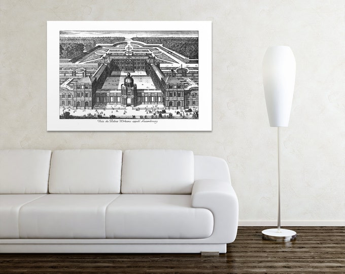 Antique Print of Luxembourg on your choice of color and Photo Paper,Matte Paper or Canvas Giclee.
