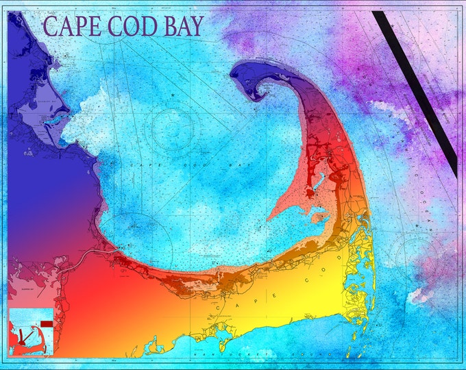 Artistic Print of Cape Cod Bay Chart on your choice of Photo Paper, Matte Paper or Canvas Giclee