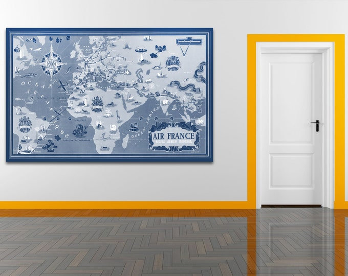 Vintage Antique East Meets West Air France World Map Airline Plane on photo paper Matte paper Canvas Art Home Decor Giclee Print