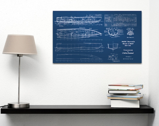 Print of Vintage VAMOOSE Boat Blueprint from Motor Boating's Build a Boat Series on Your Choice of Matte Paper, Photo Paper, or Canvas