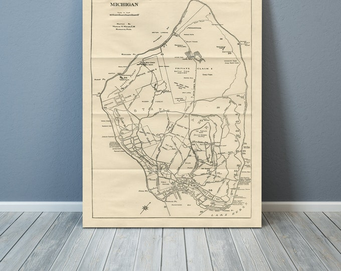 Print of Antique Map of Mackinac Islands Michigan on Photo Paper, Matte Paper or Stretched Canvas