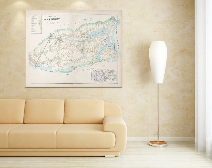 Print of Antique Map of Westport City Massachusetts Featuring Pottersville on Photo Paper, Matte Paper and Stretched Canvas